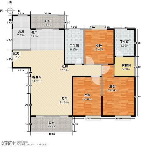 正元怡居3室1厅2卫1厨149.00㎡户型图