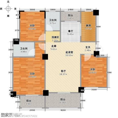 阳光下的红屋顶3室0厅2卫1厨108.00㎡户型图
