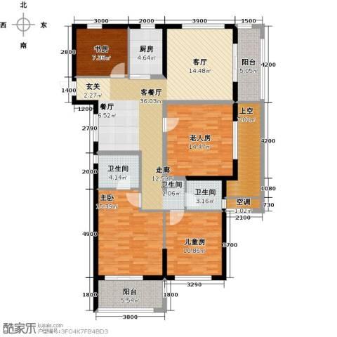 云峰苑4室1厅2卫1厨131.84㎡户型图