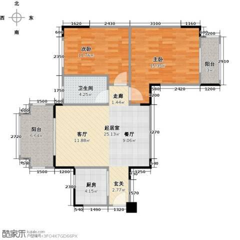 壹山郡2室0厅1卫1厨88.00㎡户型图