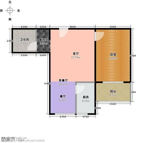 东泽园1厅1卫1厨71.00㎡户型图