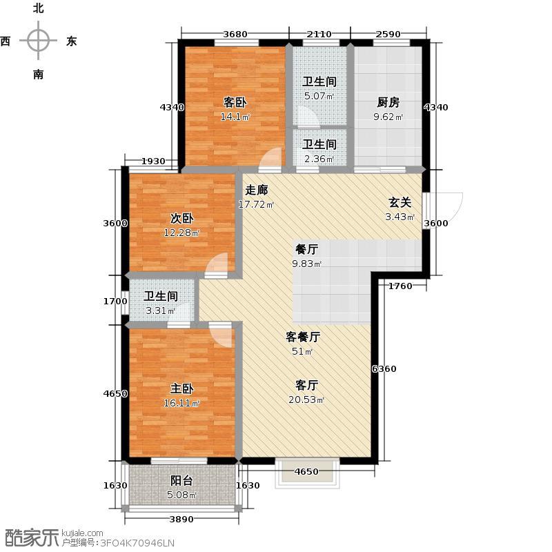 书香庭院户型3室1厅3卫1厨