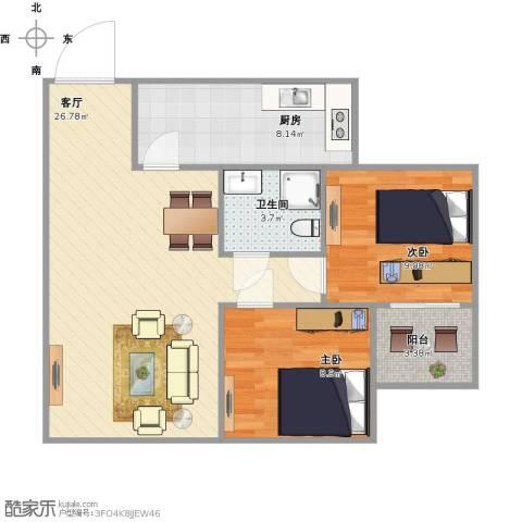 102生活广场2室1厅1卫1厨81.00㎡户型图