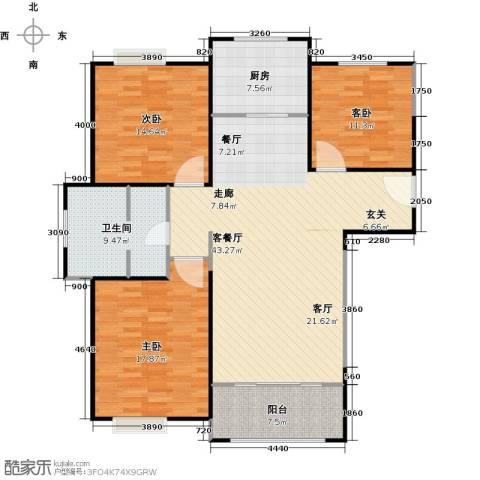 正元怡居3室1厅1卫1厨120.00㎡户型图