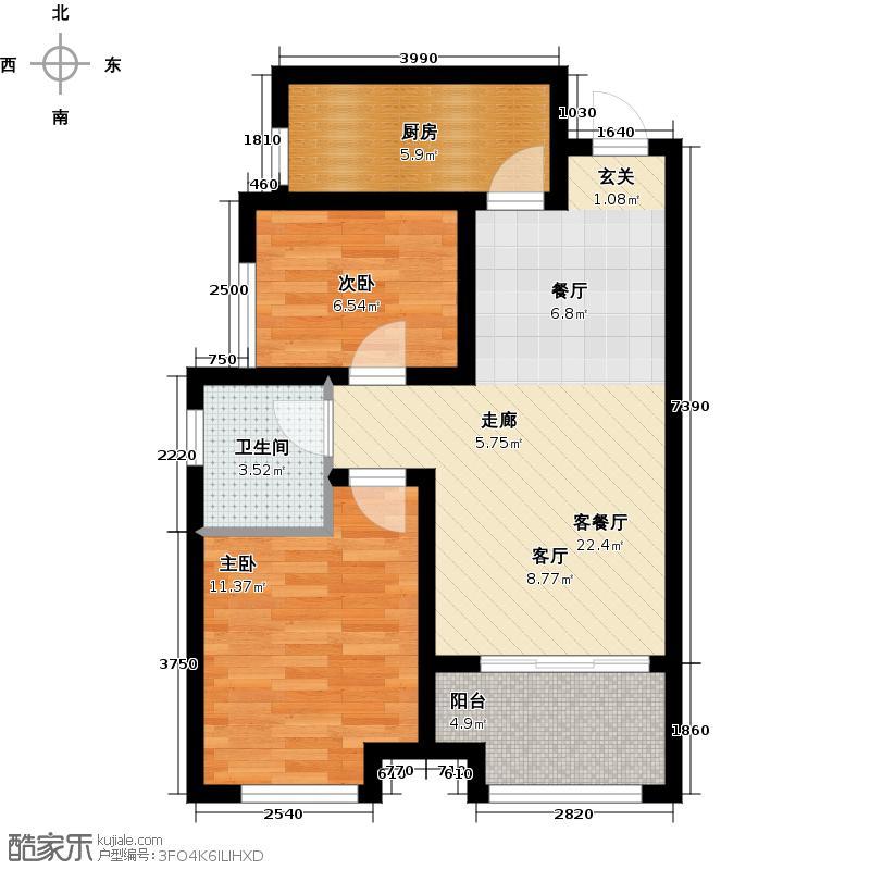 尚品・燕园77.00㎡D3户型 两室两厅一卫户型2室2厅1卫