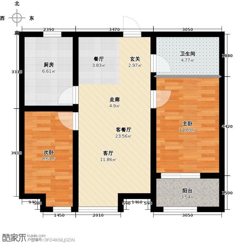 尚品・燕园81.00㎡D7户型 两室两厅一卫81-88平米户型2室2厅1卫