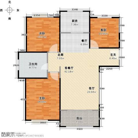 正元怡居3室1厅1卫1厨116.00㎡户型图