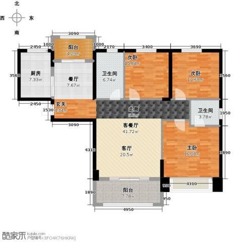 祥隆理想城3室1厅2卫1厨124.00㎡户型图