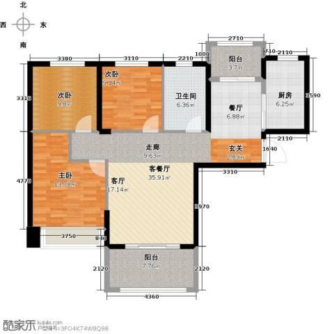 祥隆理想城3室1厅1卫1厨105.00㎡户型图