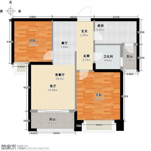 祥隆理想城2室1厅1卫1厨84.00㎡户型图