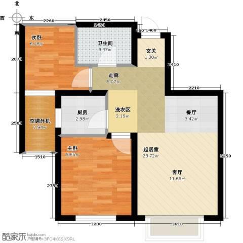 欧尚广场2室0厅1卫1厨70.00㎡户型图