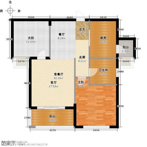 祥隆理想城2室1厅1卫1厨90.00㎡户型图