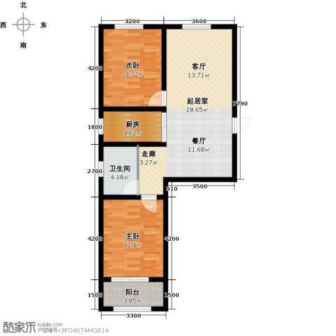 紫郡2室0厅1卫1厨94.00㎡户型图