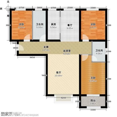 紫郡3室0厅2卫1厨138.00㎡户型图