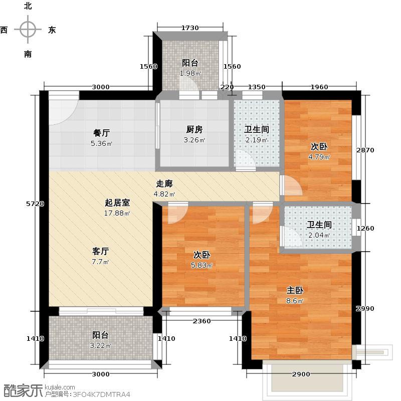 恒大绿洲118.92㎡26栋01户型3室2厅2卫