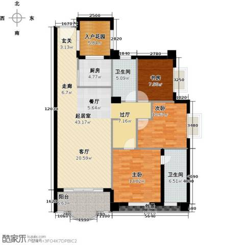 御峰臻品3室0厅2卫1厨117.00㎡户型图