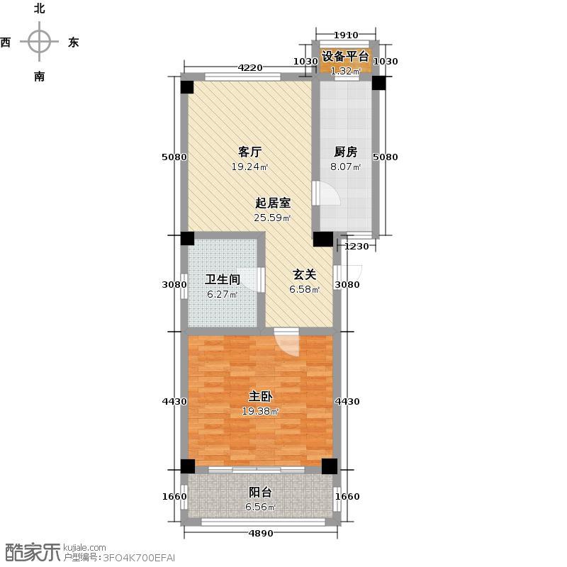 威高花园76.00㎡山盟婚房户型1室1厅1卫