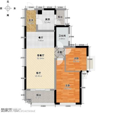 彰泰峰誉2室1厅1卫1厨82.57㎡户型图