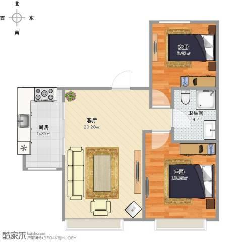 金隅悦城2室1厅1卫1厨66.00㎡户型图