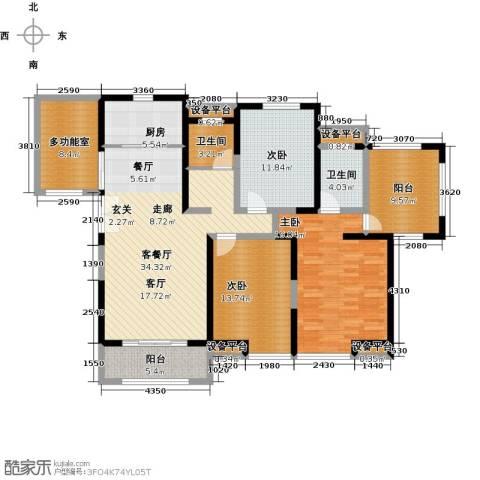 金海名园3室1厅2卫1厨134.00㎡户型图