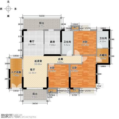 大信时尚家园3室0厅2卫1厨131.04㎡户型图