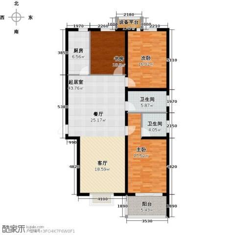 华舜学府3室0厅2卫1厨125.00㎡户型图