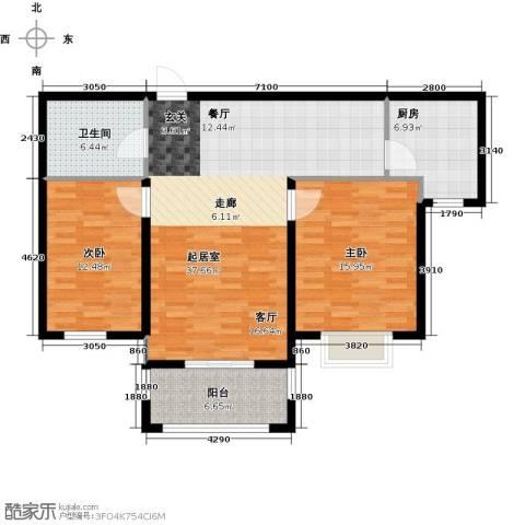 金屋秦皇半岛2室0厅1卫1厨97.00㎡户型图