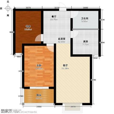 华舜学府2室0厅1卫1厨87.00㎡户型图