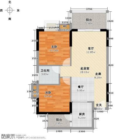 大信时尚家园2室0厅1卫1厨77.30㎡户型图