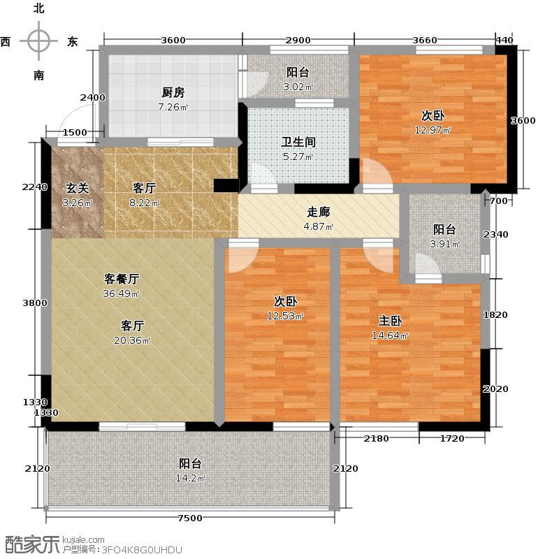 鑫隆公园大地1#楼E户型3室1厅1卫1厨
