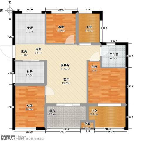 云峰苑3室1厅1卫1厨96.52㎡户型图