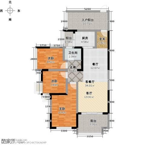 彰泰峰誉3室1厅1卫1厨106.76㎡户型图