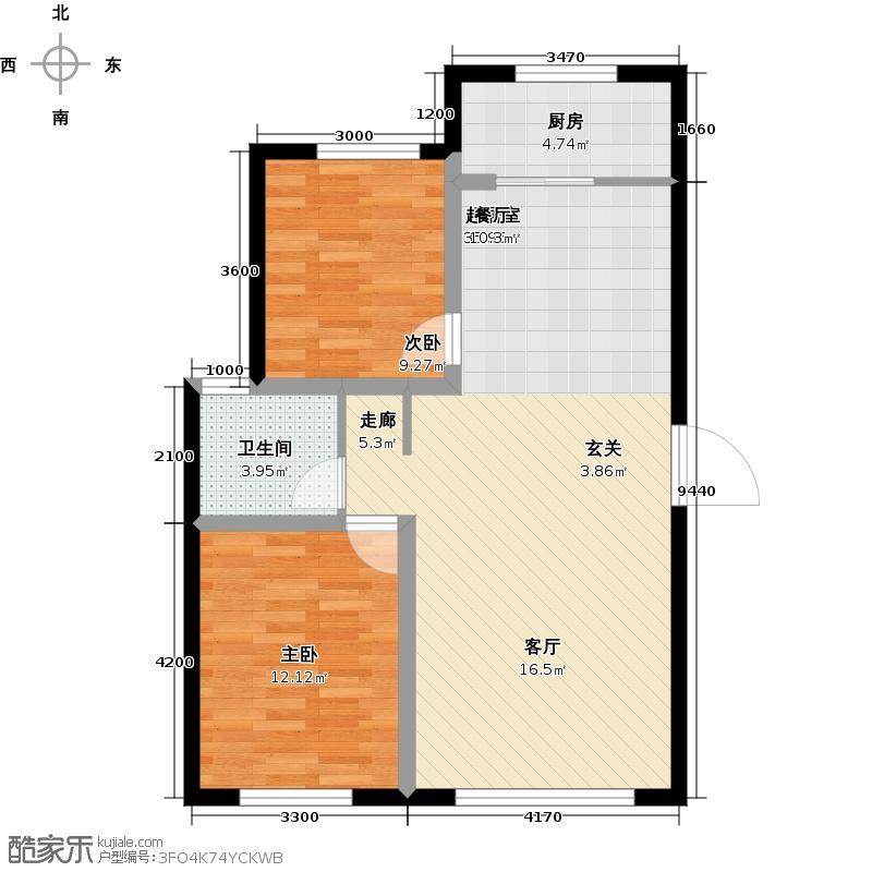 紫金城92.59㎡E1户型2室2厅1卫