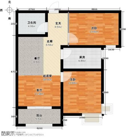 金屋秦皇半岛2室0厅1卫1厨86.00㎡户型图