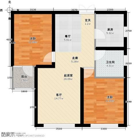 中科苑2室0厅1卫1厨86.00㎡户型图