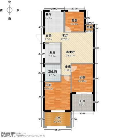 云峰苑3室1厅1卫1厨93.18㎡户型图