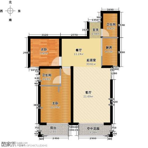 天水丽城二期2室0厅2卫1厨98.00㎡户型图