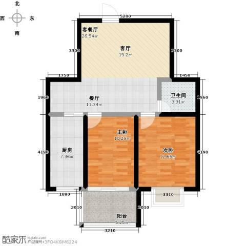 盛祥佳苑2室1厅1卫1厨76.00㎡户型图