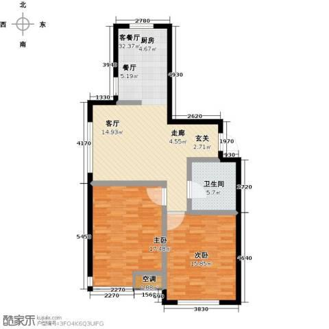元基首府2室1厅1卫0厨102.00㎡户型图