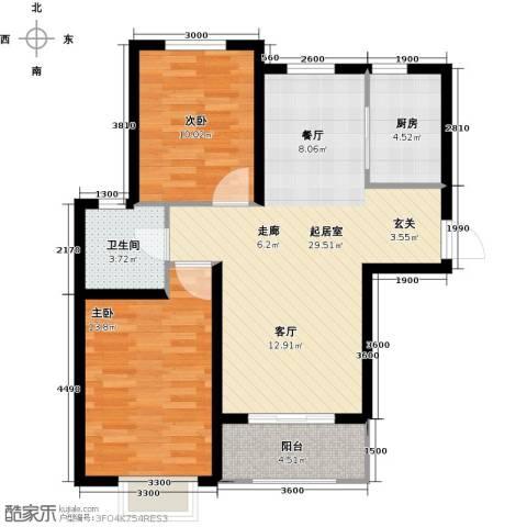 金屋秦皇半岛2室0厅1卫1厨98.00㎡户型图