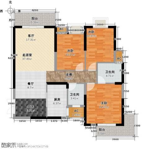 领御玺台3室0厅2卫1厨141.00㎡户型图