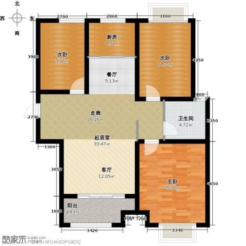 凤凰水城3室0厅1卫1厨127.00㎡户型图