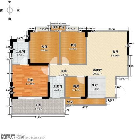 阳光花园3室1厅2卫1厨92.00㎡户型图