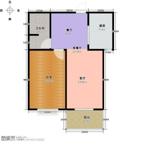 东泽园1厅1卫1厨67.00㎡户型图