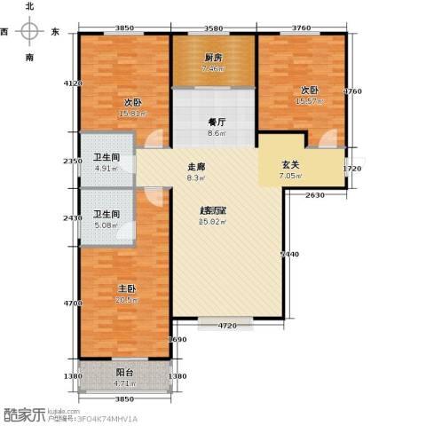 侯河铭品尚江南3室0厅2卫1厨132.00㎡户型图