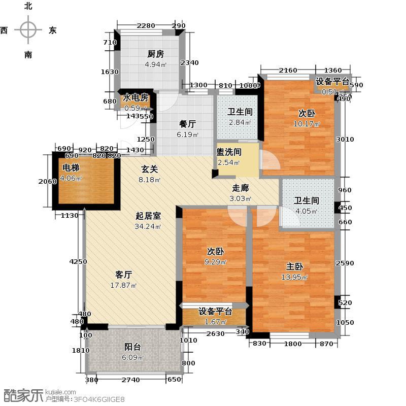 顶秀家园户型3室2卫1厨