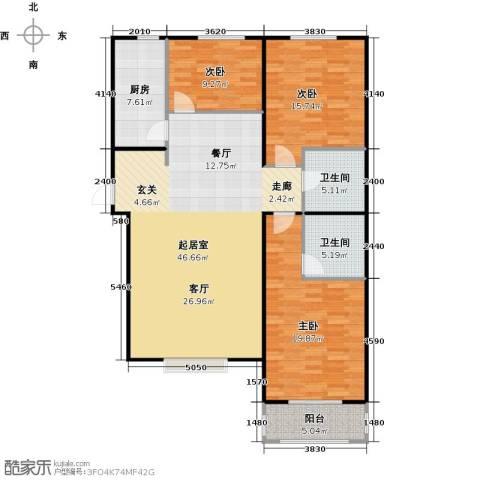 侯河铭品尚江南3室0厅2卫1厨121.00㎡户型图
