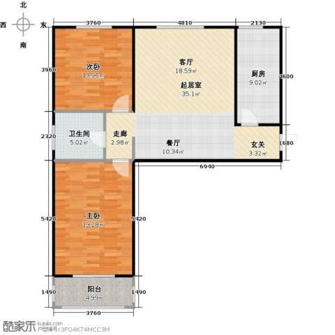 侯河铭品尚江南2室0厅1卫1厨94.00㎡户型图