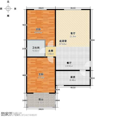 侯河铭品尚江南2室0厅1卫1厨97.00㎡户型图