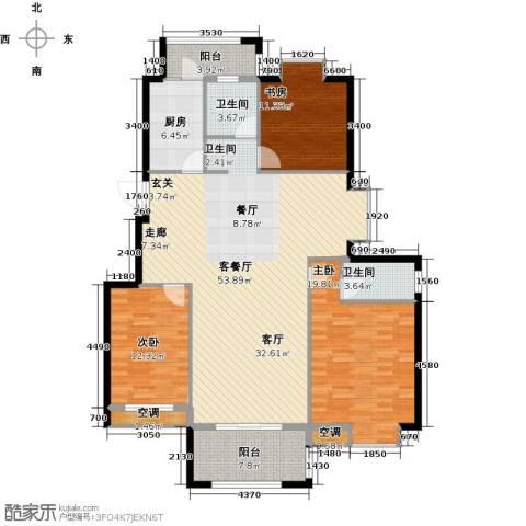 香水郡3室1厅2卫1厨172.00㎡户型图